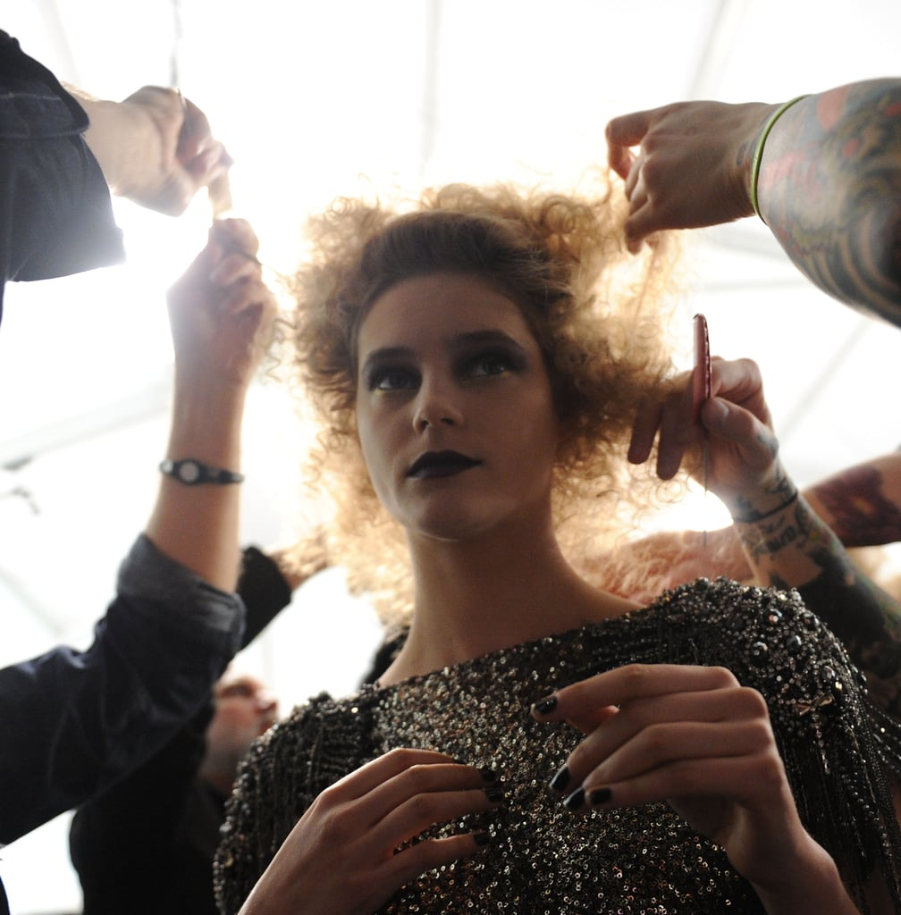 Backstage at Badgley Mischka