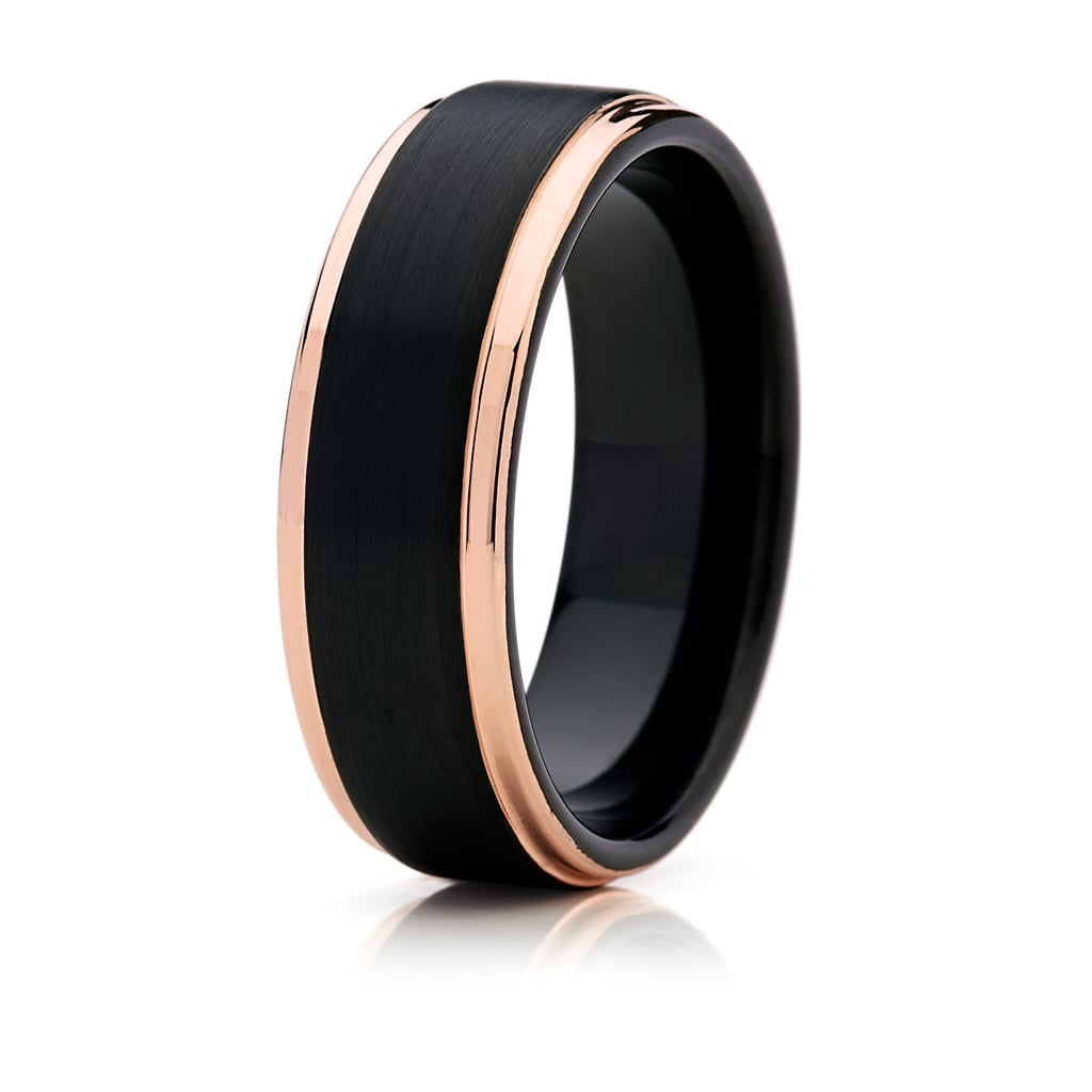 Black with Rose Gold Tungsten Men's Wedding Band ($185)