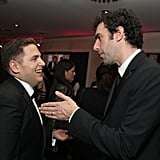 Jonah Hill and Sacha Baron Cohen at the Golden Globes.