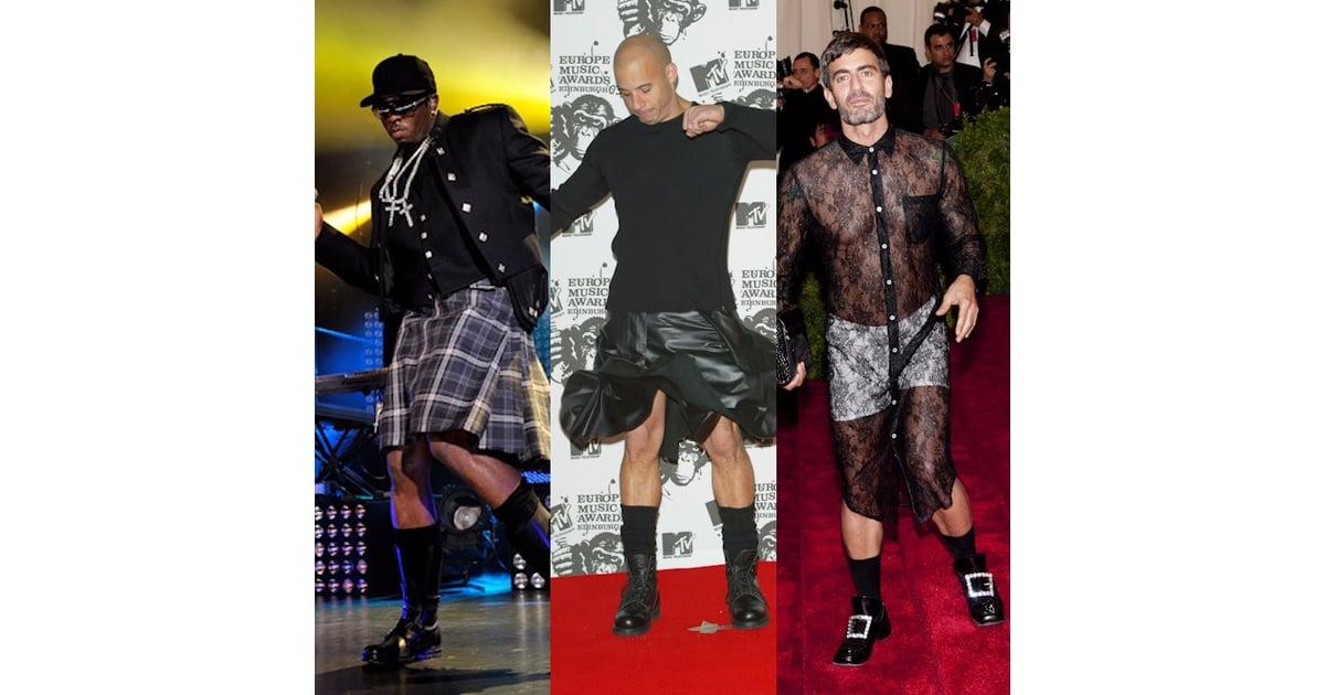7 Celebrity Men Wearing Dresses Skirts Popsugar Fashion