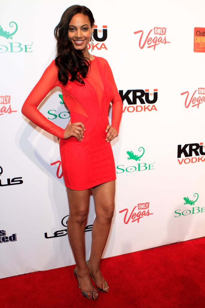 Ariel Meredith stood out in her bright dress.