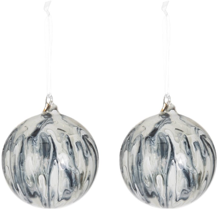 Amara Glass Marble Ball Christmas Decoration — Set of 2