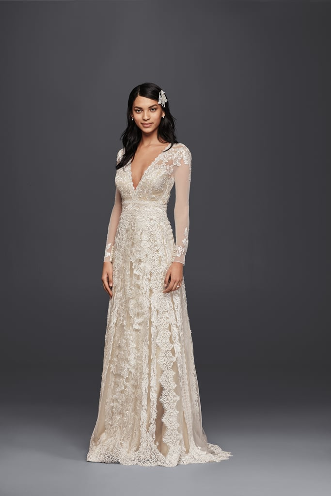 Melissa sweet for david 39 s bridal linear lace wedding dress for Melissa sweet short wedding dress