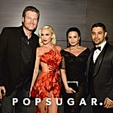 Pictured: Gwen Stefani, Demi Lovato, Wilmer Valderrama, and Blake Shelton