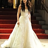 Leighton Meester modelled a white wedding dress during a November 2011 shoot of a pivotal scene.
