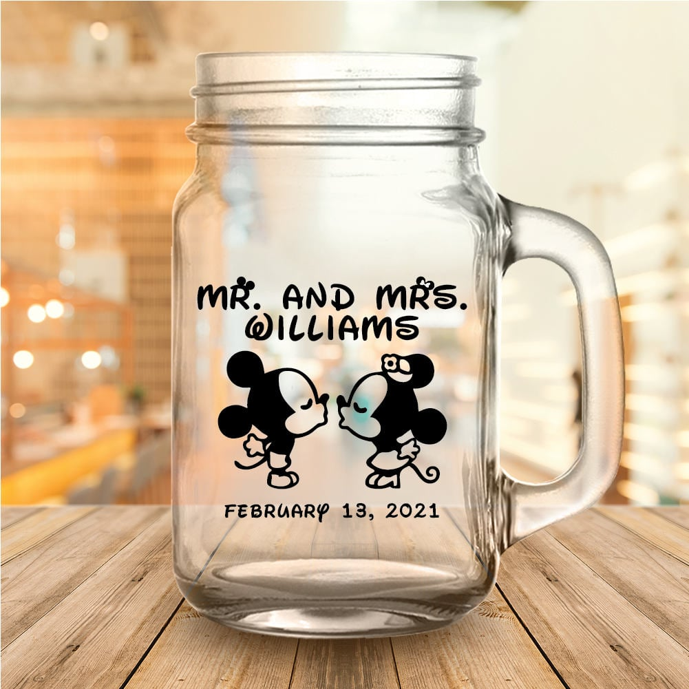 Custom Classic Disney Themed Wedding Favor Mason Jars | Disney