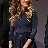 Sarah Jessica Parker wore a velvet skirt to the press conference ahead of the Novel Peace Prize Concert in Oslo.