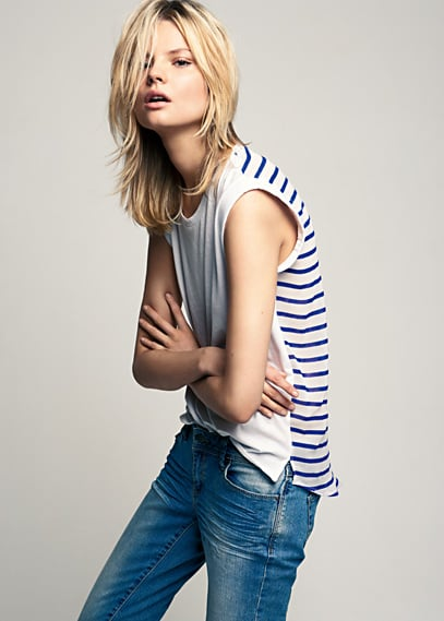 We love the unexpected cool factor of a white tee in front, stripes in the back.  Mango Back Striped T-Shirt ($25, originally $35)