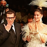 He blew a kiss from the catwalk, with model Laetitia Casta by his side, at the end of his haute couture presentation for Spring/Summer 2000.