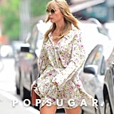Taylor Swift's Floral Dress and Thigh-High Boots