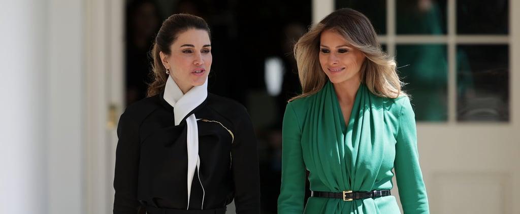 Melania Trump's Green Dress With Queen Rania