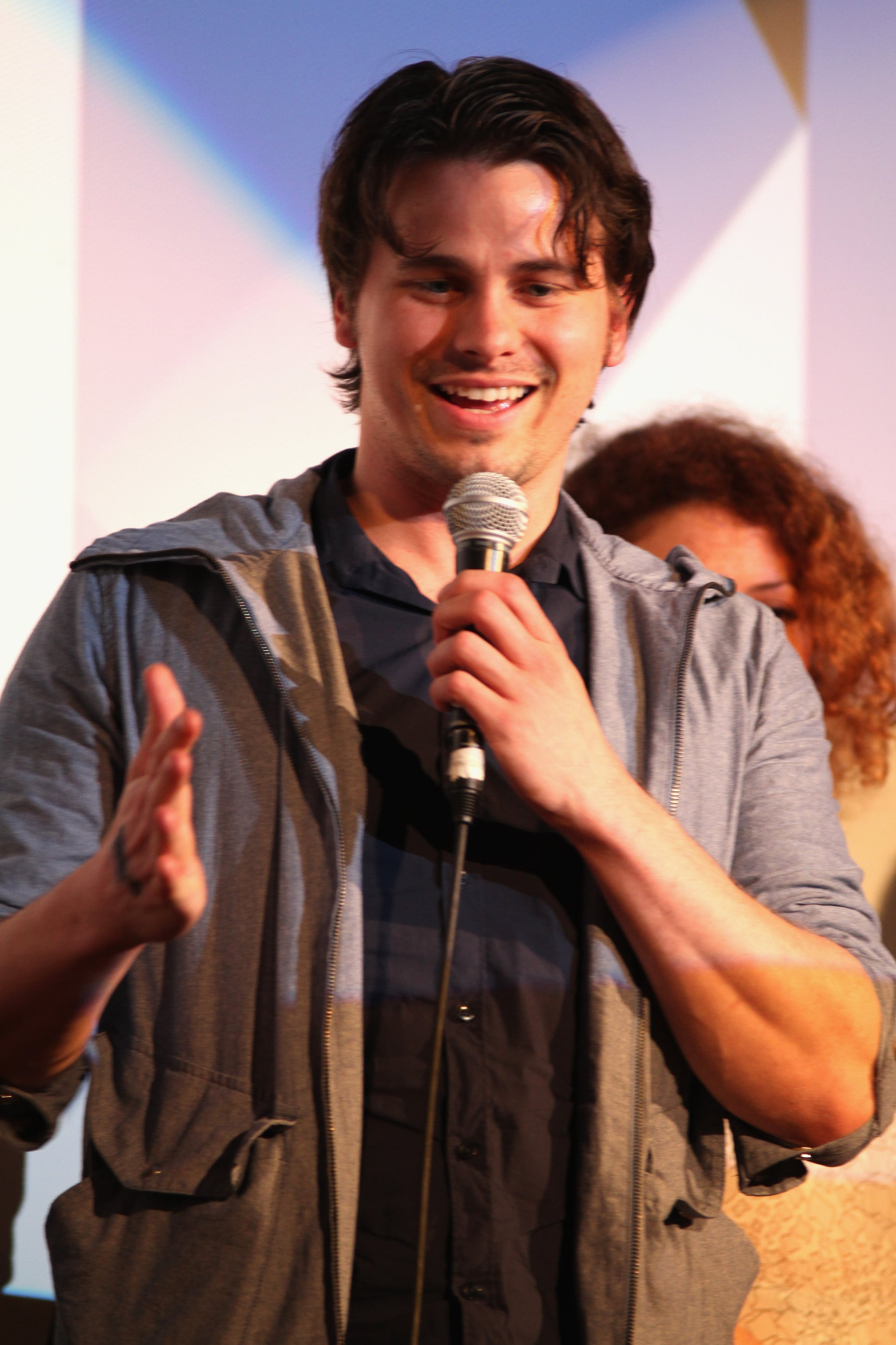 Jason Ritter smiled while speaking with the crowd gathered at the Wild Canaries Q&A on Saturday.
