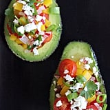 Tomato, Pepper, and Radish Salad in Avocado Shell