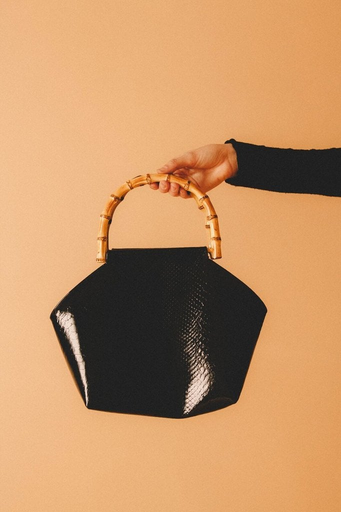 The Lykke Wulf Bamboo Bag ($286) is vegan and made from recycled leather.