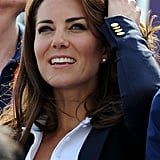 The Duchess of Cambridge recycled her navy Smythe blazer, which she previously wore on her tour of Canada.
