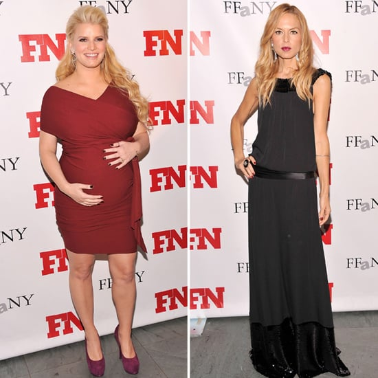 Jessica Simpson Pregnant Red Dress Pictures and Rachel Zoe at Footwear News Achievement Awards