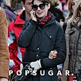 Anne Hathaway chatted on the phone.
