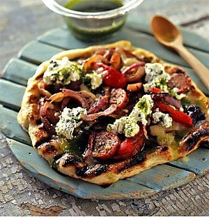 Sunday BBQ: Grilled Pizza with Hot Sausage