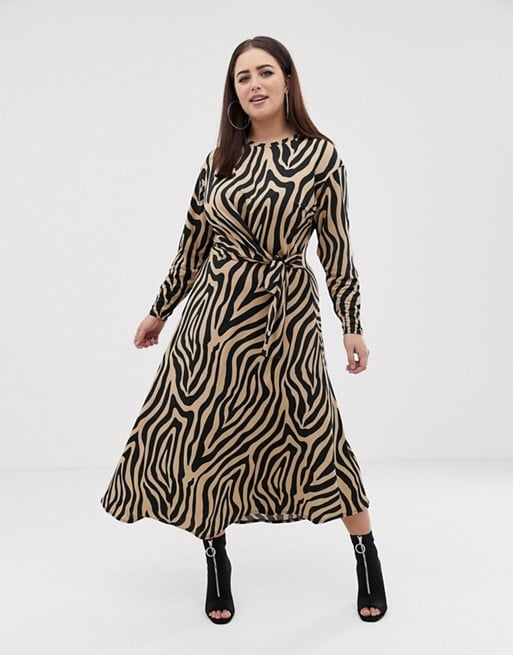 ASOS DESIGN Curve Tie Waist Maxi Dress in Animal Print