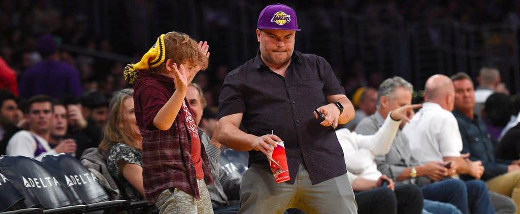 Jack Black and Son at LA Lakers Game March 2017