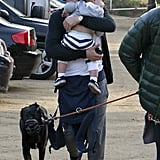 Orlando Bloom with dog Sidi and son Flynn.
