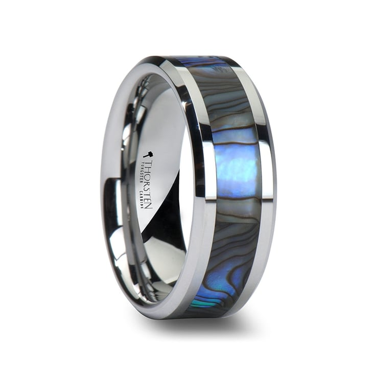 Men S Tungsten Wedding Band With Mother Of Pearl Inlay