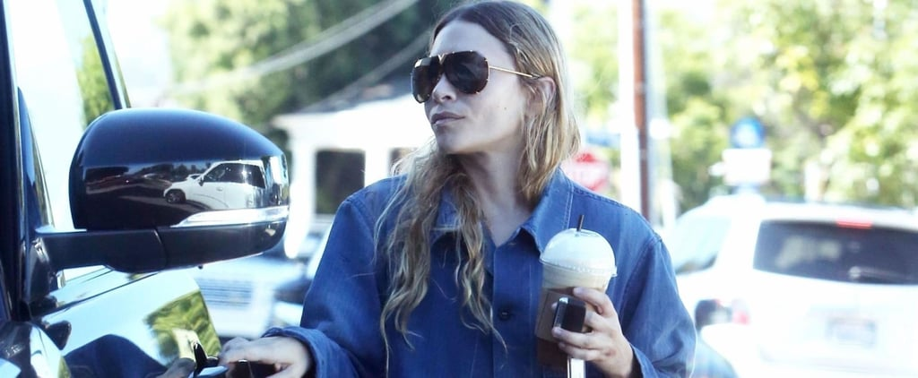 Ashley Olsen's Brown Wicker Bag