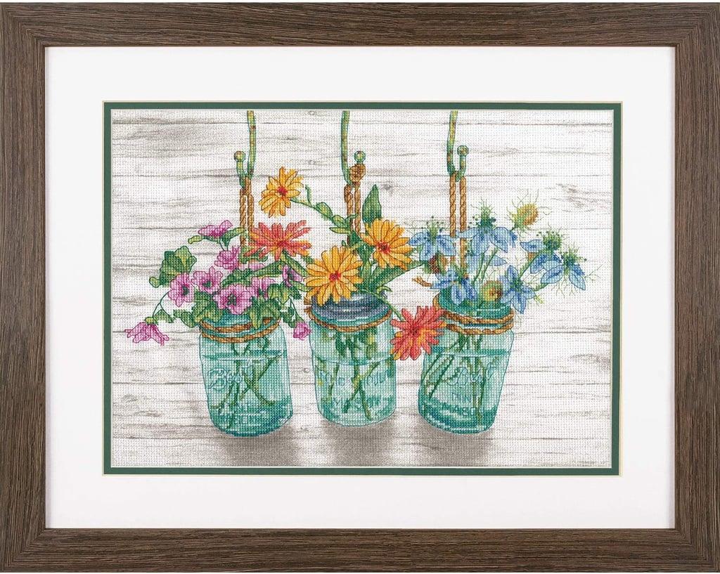 Flowers in Mason Jars Cross Stitch Kit
