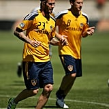 David Beckham and the LA Galaxy led a training session for high school students yesterday in Australia.