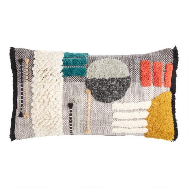 Gray Geo Bauhaus Lumbar Pillow