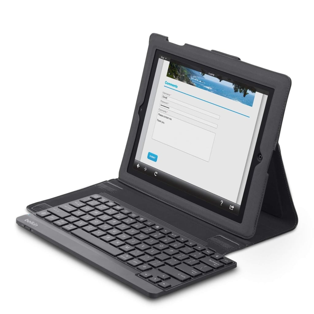 This is the ultimate accessory for setting up a mobile office anywhere, at anytime. Turn an iPad into a workstation with Belkin's folio and keyboard for iPad 2, 3, and 4 ($100). The keyboard is removable, and the slim design eliminates bulk.