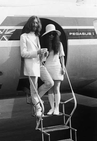 John Lennon And Yoko Ono Jet To Gibraltar