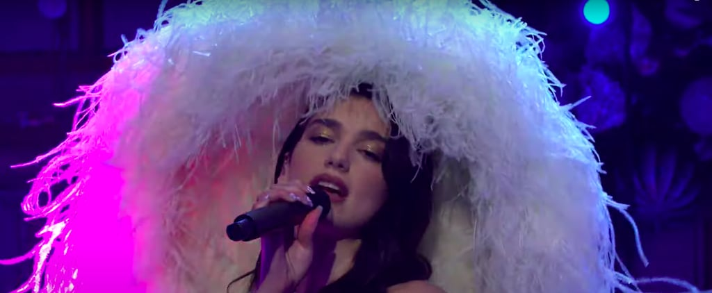 Dua Lipa Wore a Giant Feathered Hat While Performing on SNL