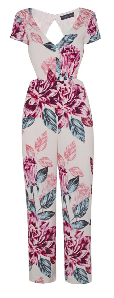 Kendall + Kylie Floral Print Cutout Jumpsuit