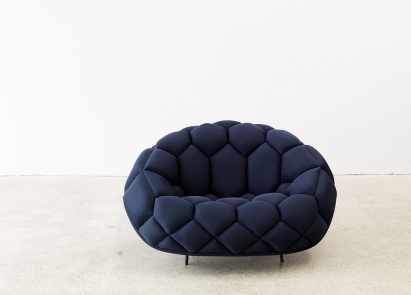The Quilt Sofa from Ronan and Erwan Bouroullec features an embedded geometric stitched pattern.