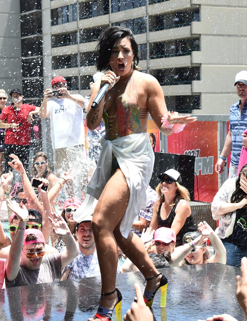 Demi Lovato Takes a Rough Spill in Her Sexy Performance