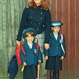 Sarah was beaming with pride as she brought her girls to Upton House school in Windsor for Eugenie's first day in 1992.