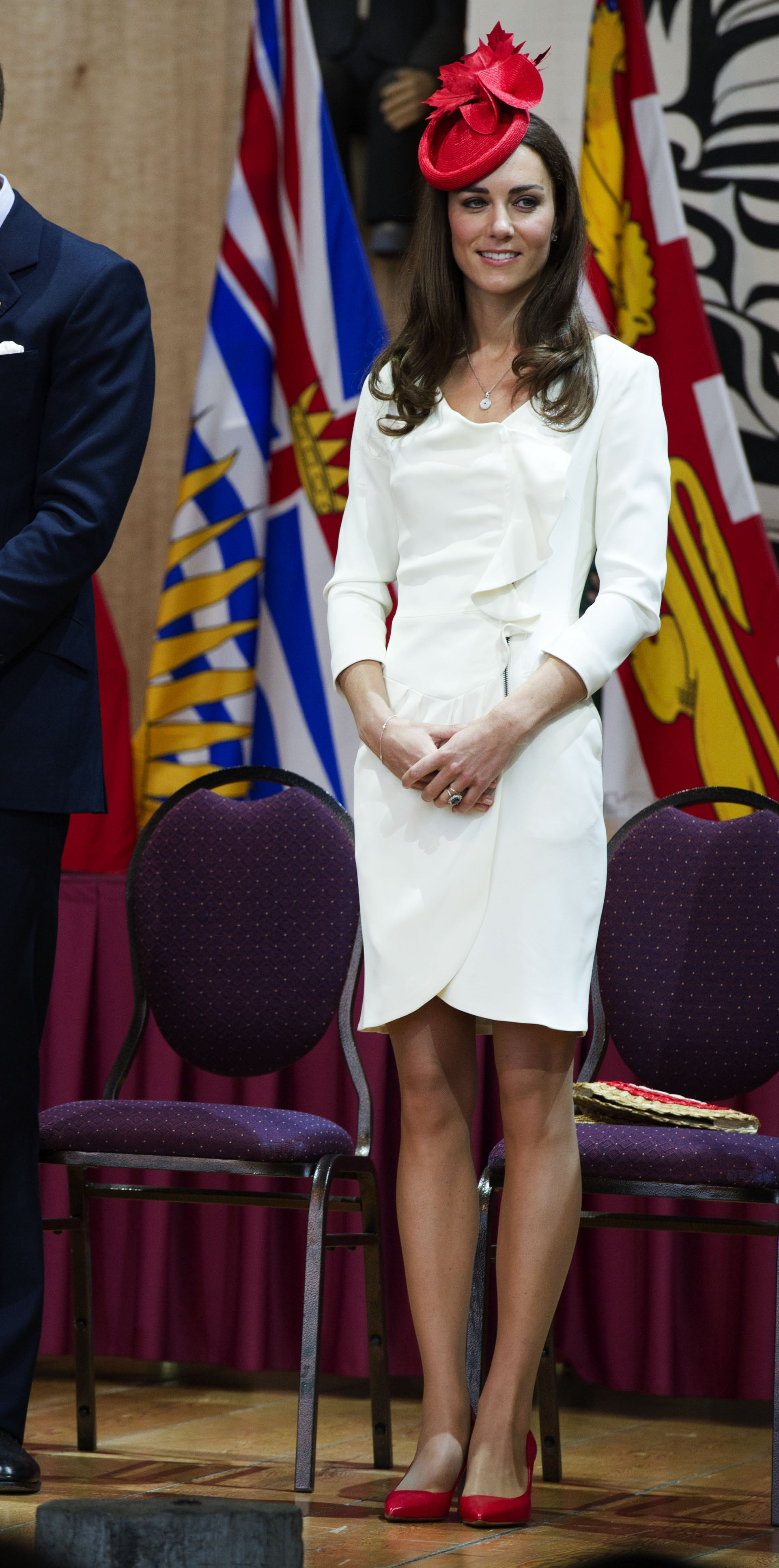 July 1st, 2011 At the Canadian Museum of Civilization in Gatineau, Canada.  Kate is wearing the same white Reiss dress she wore for her engagement photos. Her red-and-white ensemble is a nod to the Canadian flag.