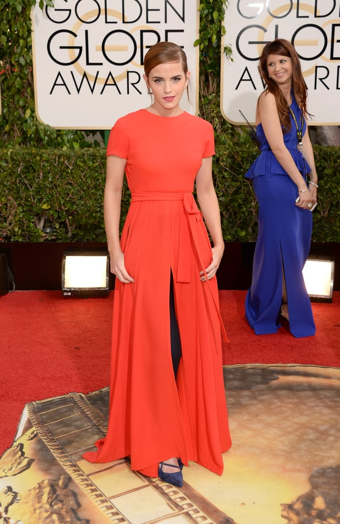 Emma Watson made a glamorous entrance when she arrived at the 2014 Golden Globe Awards in LA today. Although Emma isn't up for any trophies, she is slated to present at the award show in front of a slew of A-listers. Last week, Emma prepared for her big awards show appearance by taking a holiday with her new boyfriend, Matthew Janney. (However, Matthew wasn't by Emma's side as she walked the red carpet.) She was spotted walking with her hunky new man, who plays rugby at Oxford University, in the Caribbean. Keep clicking to see more photos from Emma's night at the Globes, and vote for your favourite Golden Globes fashion and beauty moments in our polls.