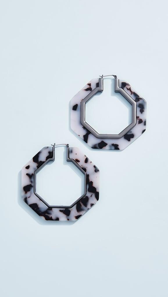 Rebecca Minkoff Octagon Resin Hoop Earrings