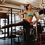 Jacquelyn Jablonski in the gym before flying out to London for the show.