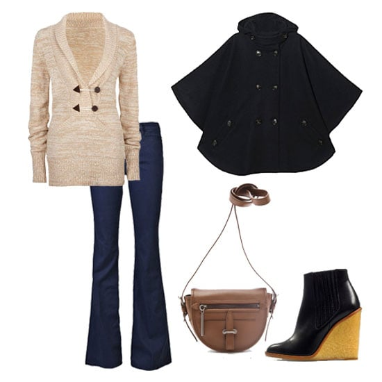 Channel a '70s-inspired Fall classic when you pair flared denim with a neutral knit. The flare leg on your jeans will counter the shape of your cape and elongate your legs, making it a look we love as much for its figure flattery as we do for its chic feel. Get the look:  Sessun Reina Hooded Cape ($340) Rip Curl Alpine Womens Sweater ($59) MiH Marrakesh Jeans ($214) 3.1 Phillip Lim Vendetta Cross Body Bag  ($695) Zara Wedge Ankle Boot ($159)
