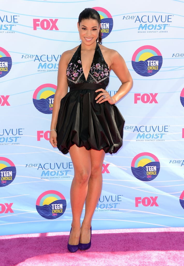 Jordin Sparks wore a black embellished Chagoury dress, Prada shoes, and jewelry by Simon G.
