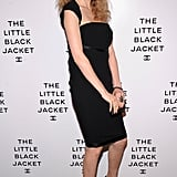 Lindsey Wixson looked equal parts sweet and sassy in a cap-sleeved black cocktail frock and summery wood-heeled platforms.