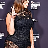Ashley Graham Black Lace Midi Dress