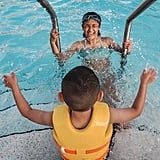 Children should become used to the shallow end of the pool first.