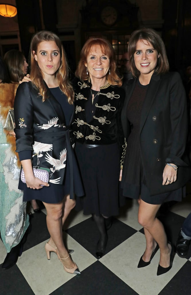 When Beatrice and Eugenie attended an event with their mom, Sarah Ferguson, in April 2017, they coordinated in short, black dresses.