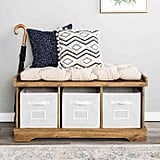 Forest Gate Contemporary Wood Storage Bench With Totes and Cushion