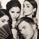Derek Hough was surrounded by lovely ladies — Vanessa Hudgens, Selena Gomez, and Lily Collins — at the Vanity Fair Oscars afterparty. Source: Instagram user derekhough
