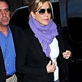 Jennifer Aniston wore aviator sunglasses in NYC.